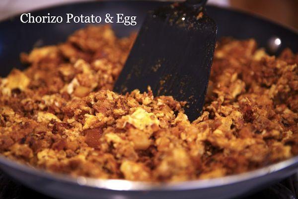 2 – medium sized Idaho russet potatoes (peeled and cubed) 1 1/2 – tablespoons vegetable oil 1 – teaspoon salt 1/2 – cup chopped onion 9 – ounces pork chorizo (i'm using soy chorizo) 5 – eggs