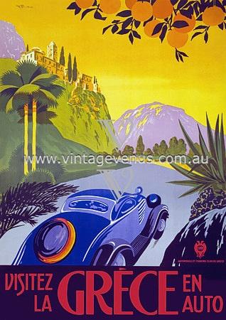 Visitez la Grèce en Auto Greece Greek #Travel #Vintage #Posters #Art Prints