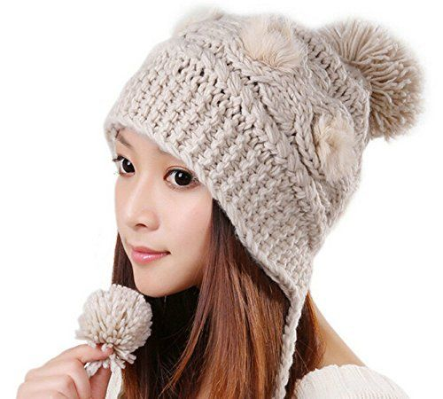 58dae56ff2c Product review for Joyci New Hot Girls Faux Fur Cable Slouchy Knit Pom Pom  Hat Ear Flap Beanie Christmas Cap – Caps   Hats for Everyone