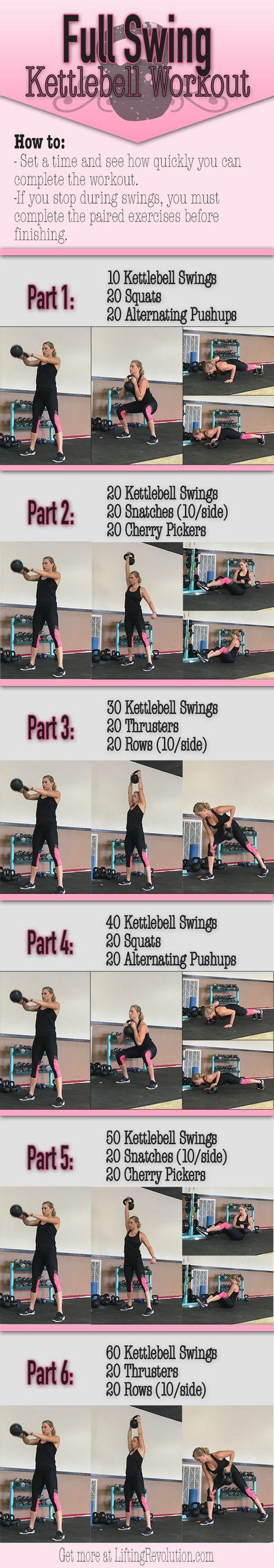 Total Body Kettlebell Workout revolving around heart thumbing swings. #kettlebell #workout