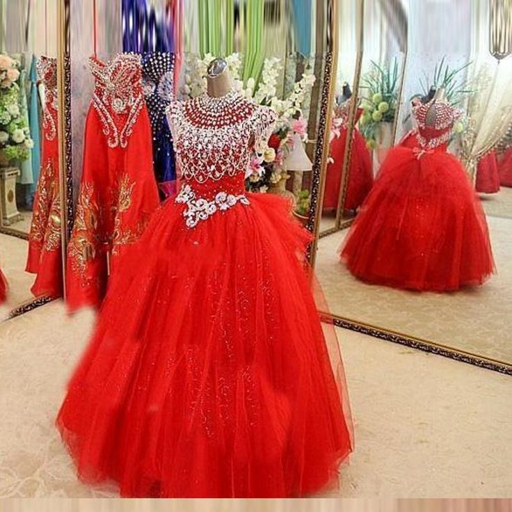 >> Click to Buy << 2016 Red Pageant Dresses For Little Girls Ball Gown for Little Girls Ball Gown Ruffles Tulle Crystal Beaded Flower Girl Dress #Affiliate