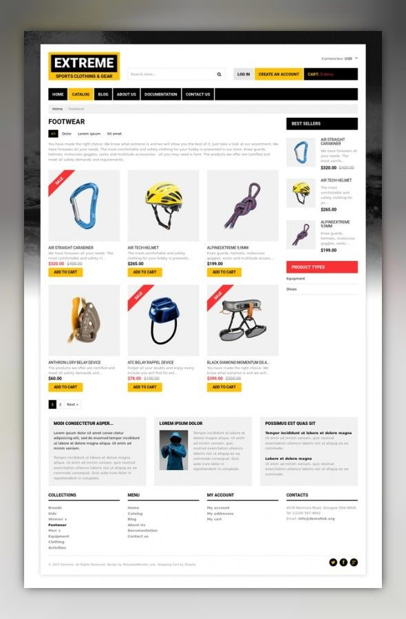 Extreme Sports Responsive Shopify Theme E-commerce Templates, Shopify Themes, Sports, Outdoors & Travel, Sport Templates, More Sports, Extreme Sports Templates