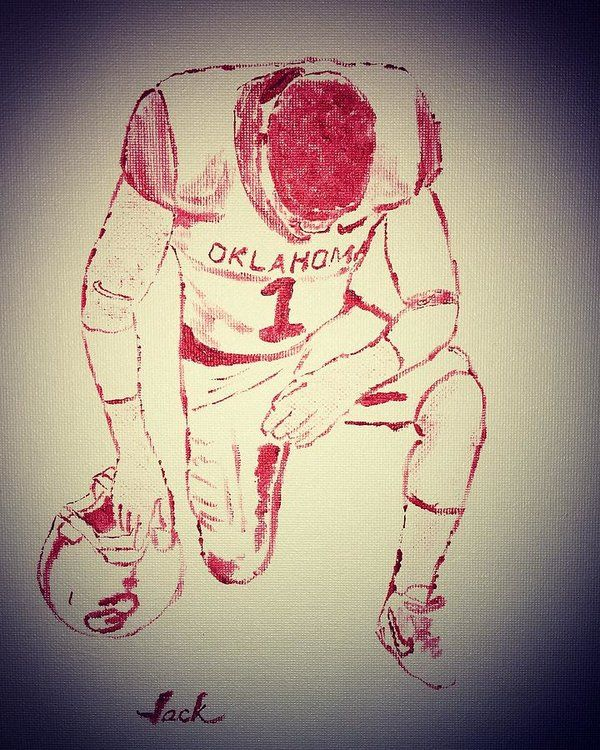 Ou Football Art Print featuring the painting Ou Football Prayer by Jack Bunds