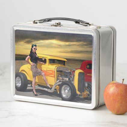 Sunset Graffiti Hot Rod Coupe Pin Up Car Girl Metal Lunch Box - girl gifts special unique diy gift idea