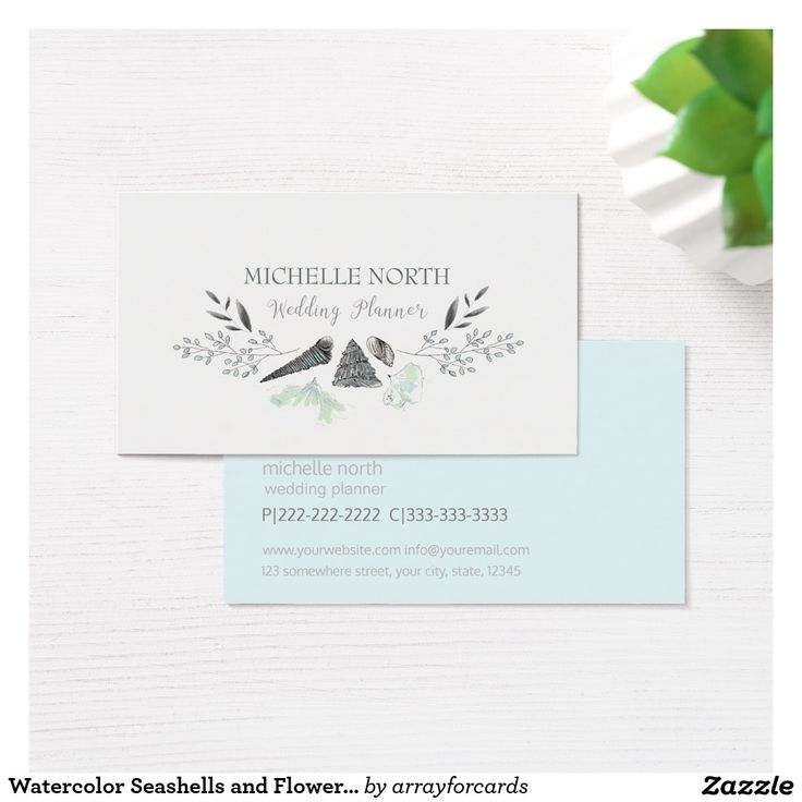 zazzle wedding invitations promo code%0A Watercolor Seashells and Flowers Blue ID    Business Card    This design  features a