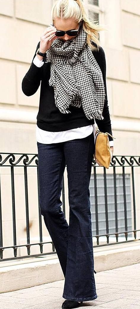 fall outfit idea... flared jeans, layered tops, chunky scarf and a pop of color for your purse.