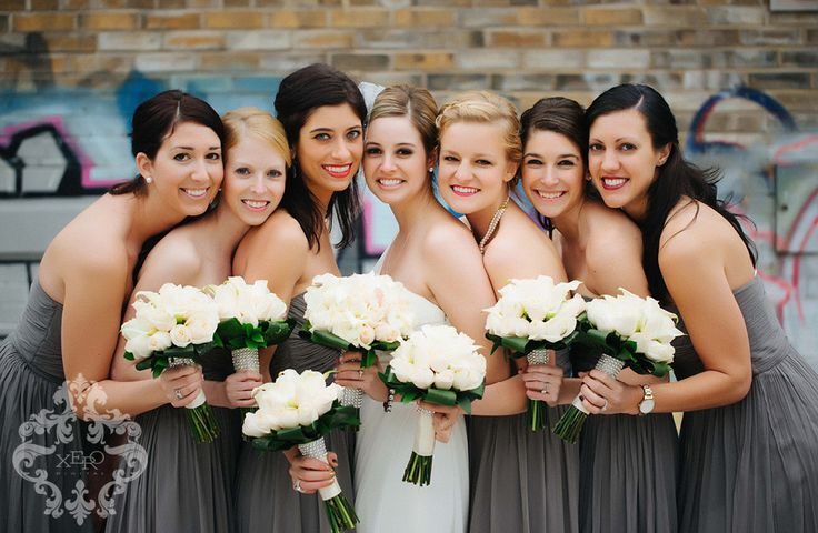 Toronto Evergreen Brickworks Wedding Photography Bride and Bridesmaids