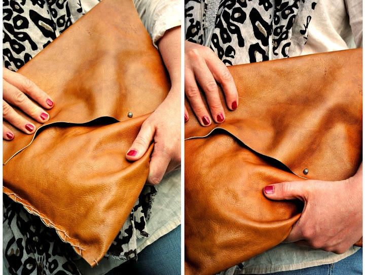 leather clutch bag, DIY