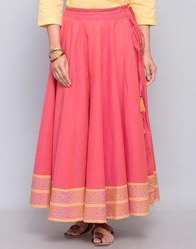 Cotton Printed Border Ghera Long Skirt