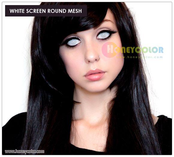 white screen round mesh halloween lens color contact lens circle contact lens cosmetic contact - Contact Lenses Color Halloween