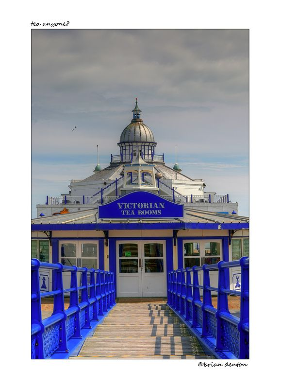 The Victorian Tearooms on the pier in the seaside town of Eastbourne, East Sussex, England.