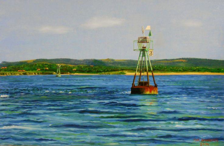 La boya 3. Mar Amorrortu 2014. Óleo sobre lienzo, 92x60.