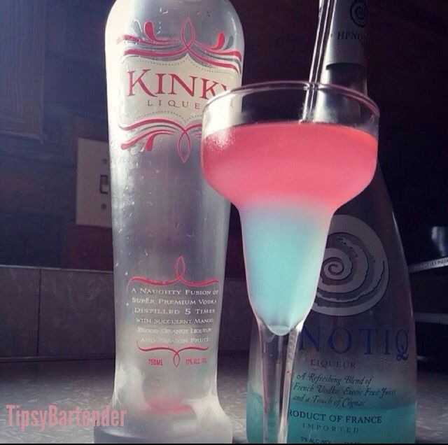 Sleeping beauty RECIPE ====== 1 oz. (30ml) Hpnotiq 2 oz. (60ml) Kinky Liqueur 3/4 oz. (22ml) Lemon Lime Soda 1.2 oz. (15ml) Vodka