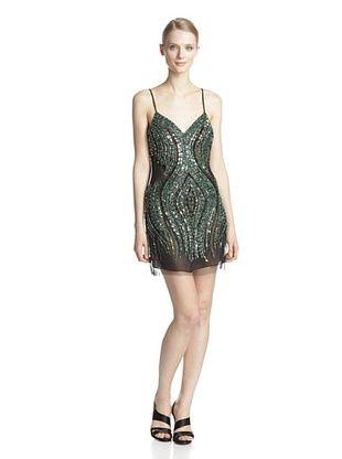 78% OFF Basix Black Label Women's Pucci Beaded Slip Dress (Black/Green)