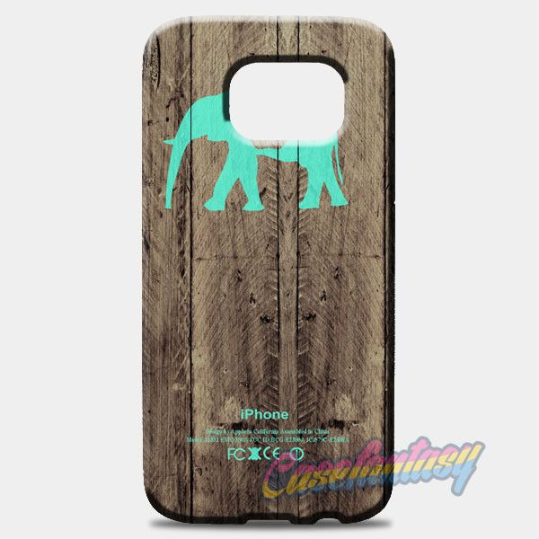 Mint Chevron Elephant On Dark Wood Background Samsung Galaxy S8 Plus Case Case | casefantasy