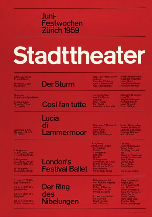 Stadttheater Zürich / Internationale Juni Festwochen / Poster / 1959