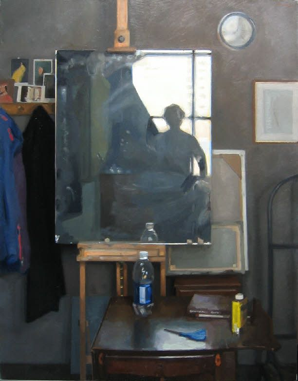 "Peter Van Dyck, 'Backlit Self-portrait' Oil on linen 54""x42"""