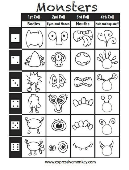 Roll & Draw A Monster - w/ FREE Game Printable!