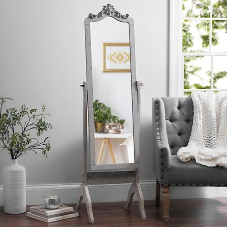Ornate Carved Distressed Gray Cheval Mirror | Kirklands