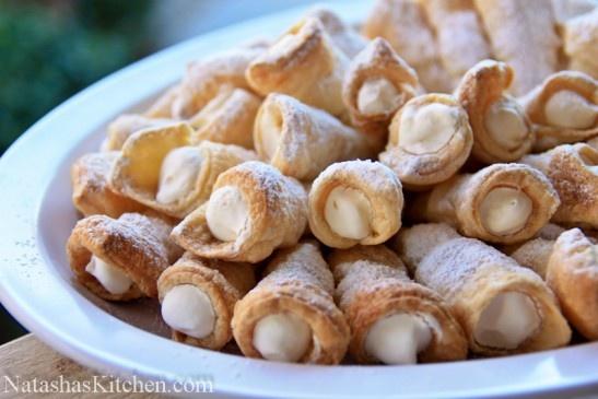 Adorable little horns of yum! Mom's Cream Horn (Trubochki) Recipe via Natasha's Kitchen
