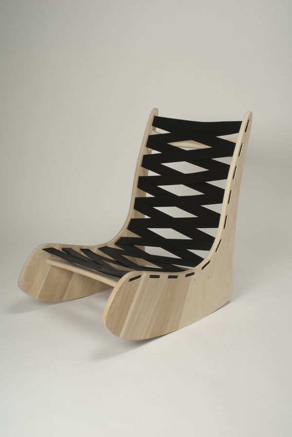 D1- Rocking chair / Materials: white canadian wood, seat belts.