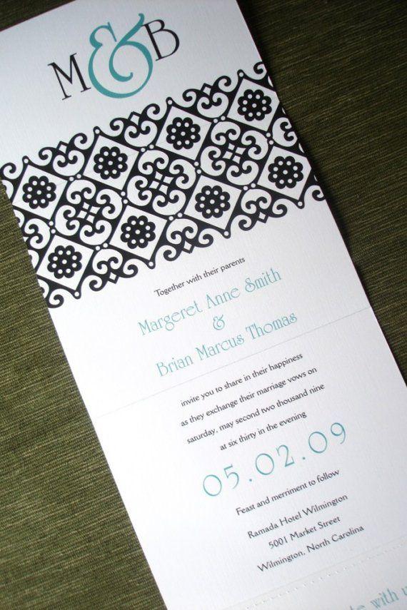 Wedding Invitation  Linen Ornate Teal and Black by alamodebride, $2.50