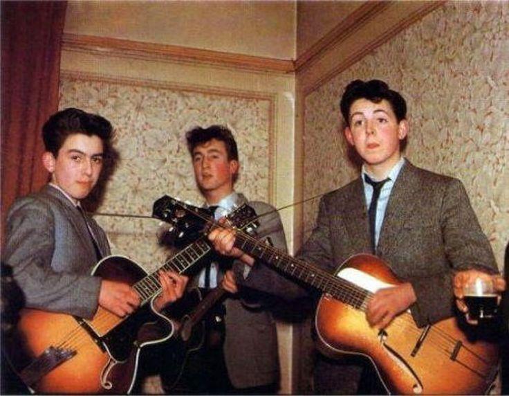 The Beatles in 1957. George Harrison is 14 John Lennon is 16 and Paul McCartney is 15.