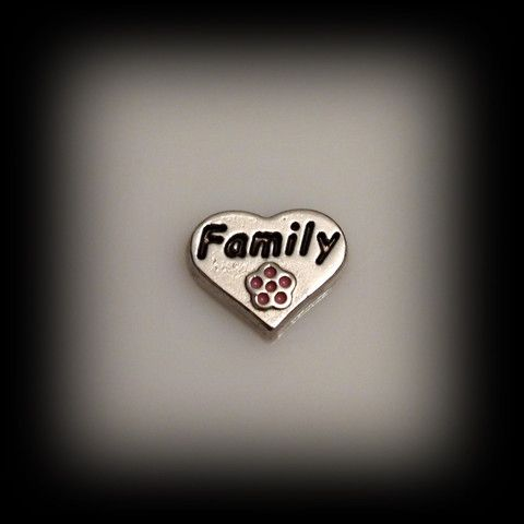 """Family"" Heart Floating Charm 