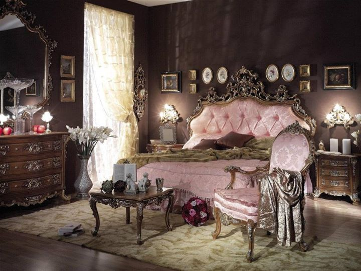 Victorian room| gingerbreadish, brass, rosewood furniture, trims, formal symmetry, deep and elaborate colors, and very feminine, curve floral patterns that represent lace, and velvet sitting cushions