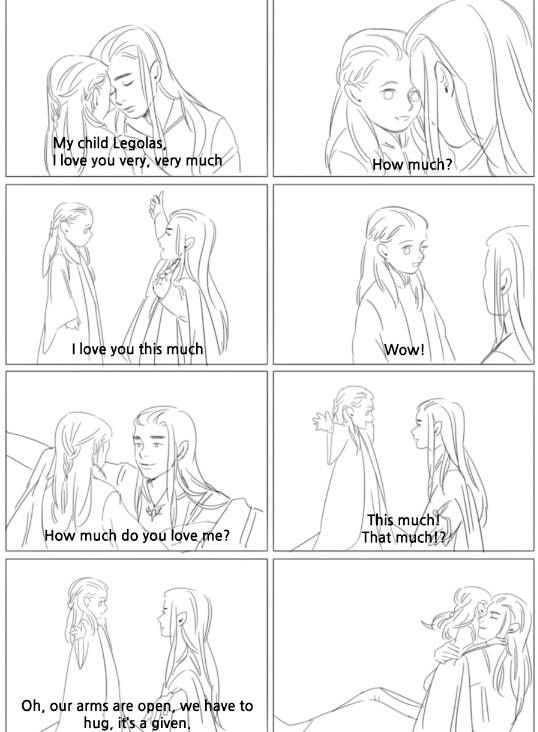 Hug time for Thranduil and little Legolas. <3 OH MY GRAVY THAT IS THE CUTEST AH!!!