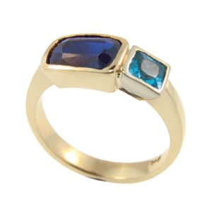 9ct Yellow Gold Sapphire & Blue Topaz Ring, handmade at Cameron Jewellery