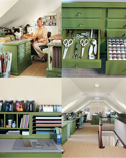 I WILL have a studio one day (soon, hopefully!) Martha's attic workspace inspires me.