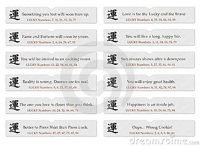 Chinese fortune cookie slips of paper with sayings or quotes for luck, the Chinese symbol for luck, kanji, and lucky numbers.