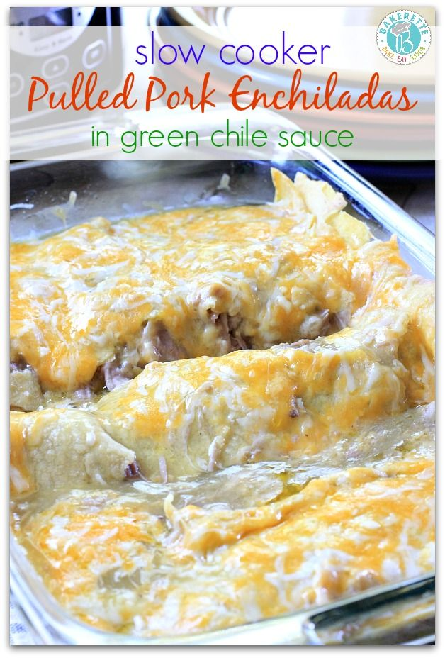 Slow Cooker Pulled Pork Enchiladas with Green Chili ~ These succulent pulled pork enchiladas are slow cooked to perfection and topped with green chile sauce. Pork so tender it will melt in your mouth!