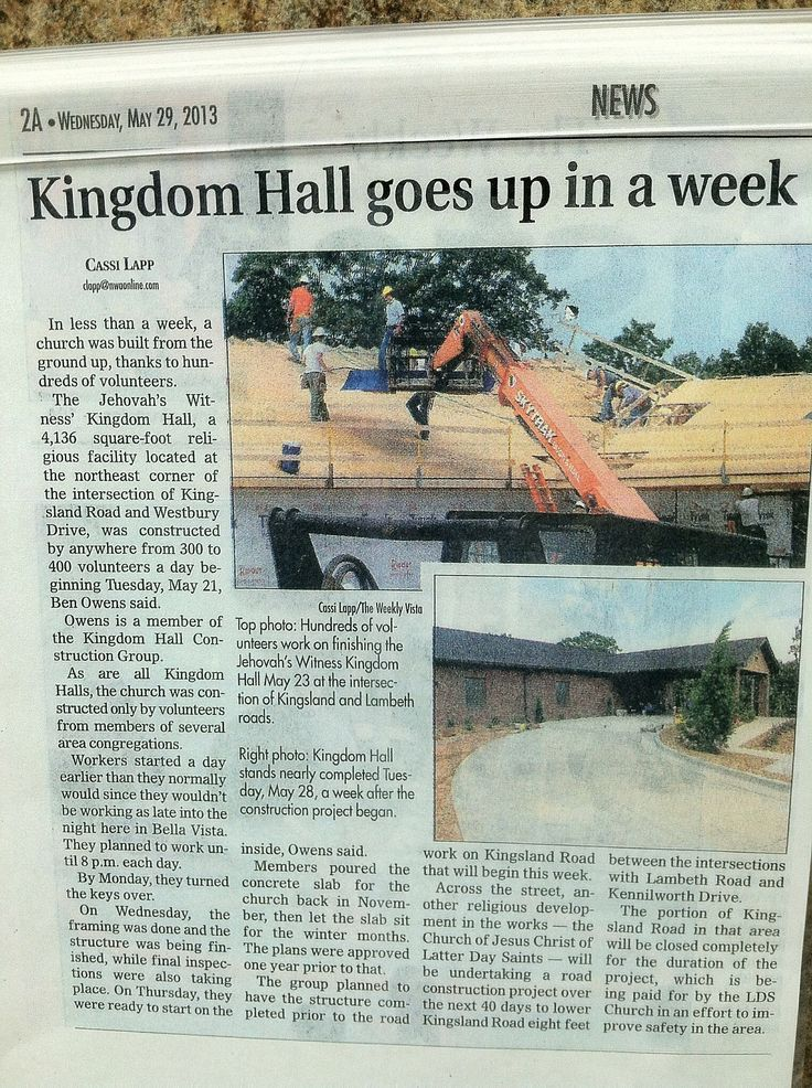 Article ~ Kingdom Hall goes up in a week!