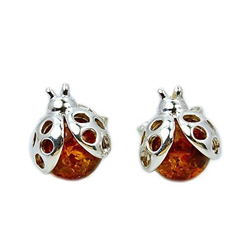 Fine Quality Cherry Amber Sterling Silver Cube Earrings 5V4x9lfL