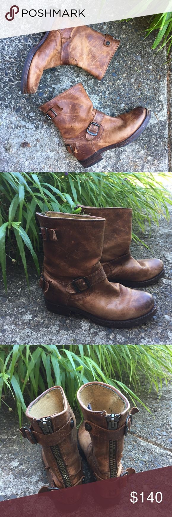 """Fyre Short Veronica's Distressed Brown Leather Great used condition with tons of life left but not the high price tag if new.   Some scuffing on the toe and light wear on the back of the heel.  1 1/8 heel and shaft 9"""" from floor to top fyre Shoes Ankle Boots & Booties"""