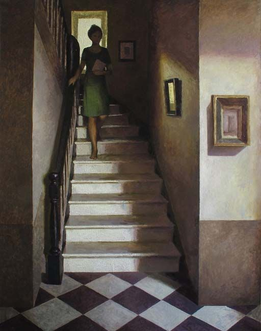 "Marc Chalmé, L'escalier, 2013, Oil On Canvas, 57"" x 45"" #art #axelle"