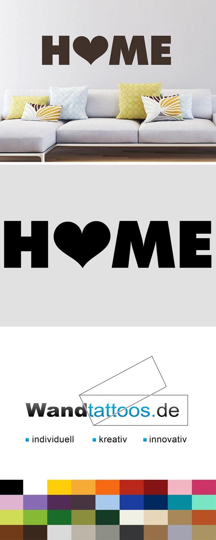 Wandtattoo Home mit Herz als Idee zur individuellen Wandgestaltung. Einfach Lieblingsfarbe und Größe auswählen. Weitere kreative Anregungen von Wandtattoos.de hier entdecken!