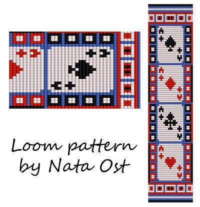 Beading Loom Pattern Bracelet Gambling Seed Bead Cuff by NataOst