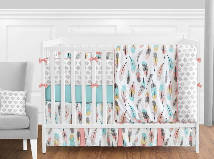 Feather Turquoise and Coral Crib Bedding Set - Sweet Jojo Designs