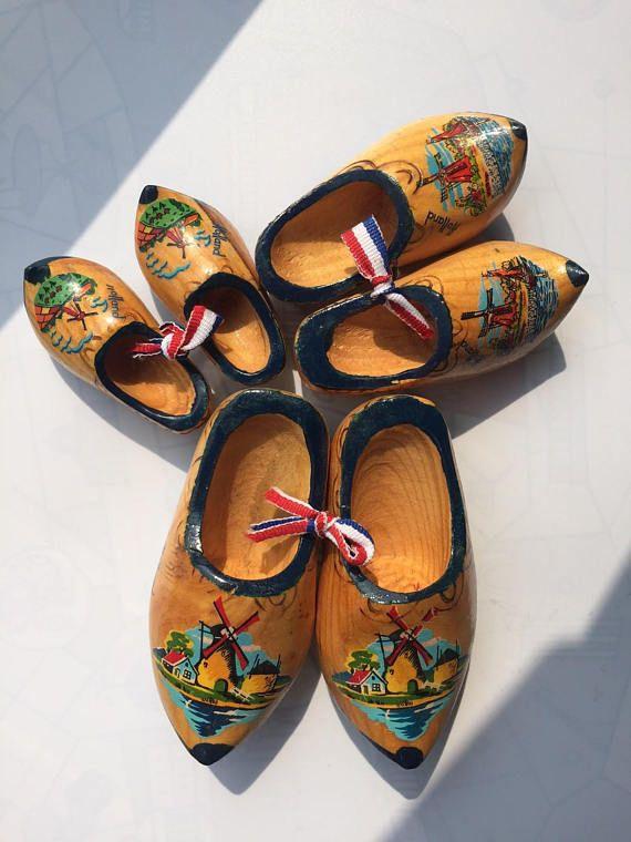 Dutch nesting wooden clogs shoes miniature  3 pairs  blue