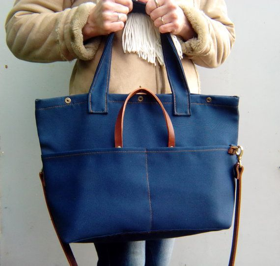 Waxed canvas bag with leather handles, Waxed canvas tote bag, Shoulder bag, Foldover closure on the buttons *ready to ship*