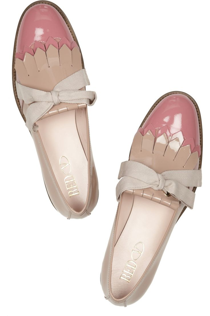 RED VALENTINO  Two-tone patent-leather loafers