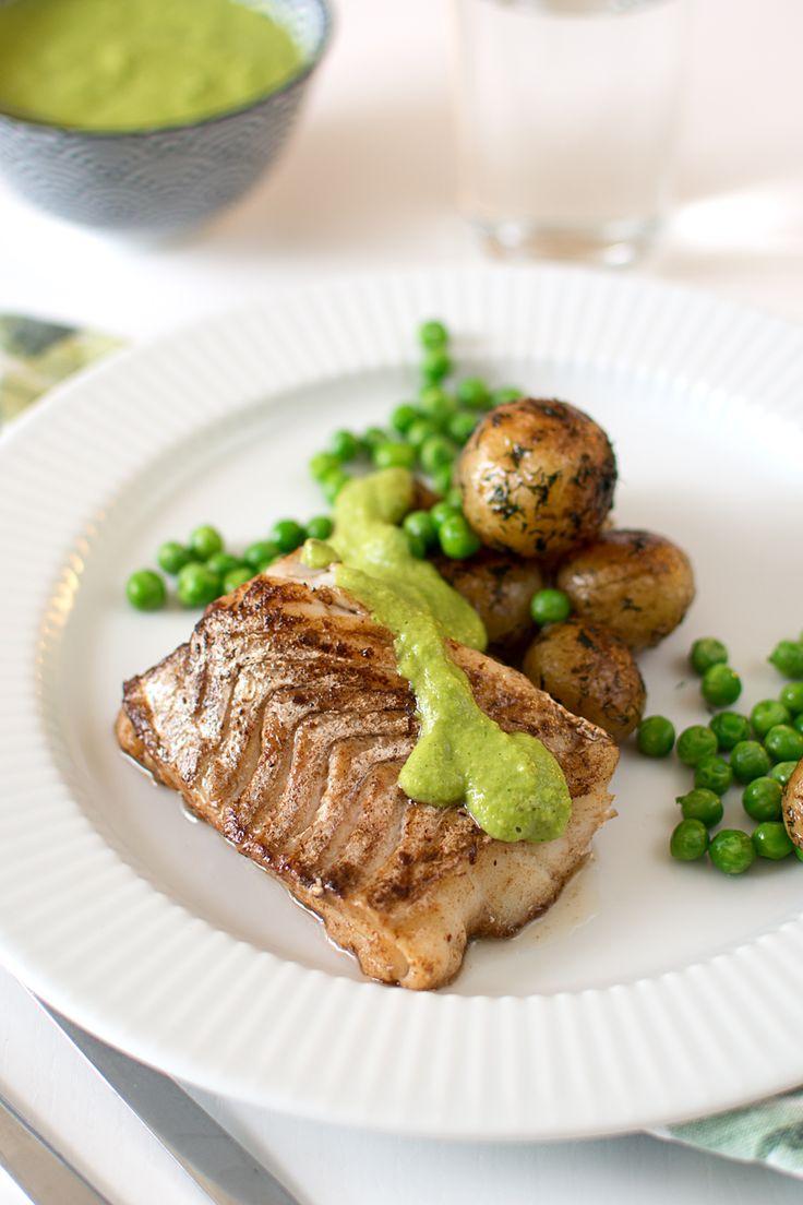 Smörstekt torsk med ärttartar