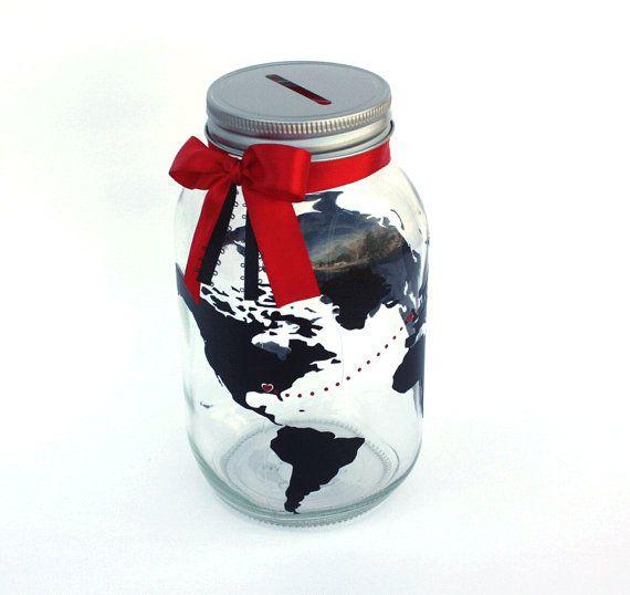 Globe bank with location hearts with coin slot by MyKindofKrafty