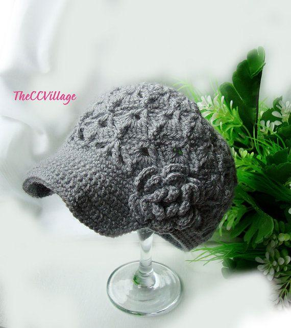 Grey Crochet Baby Summer Hat Grey Crochet Girl Hat by TheCCVillage, £10.00