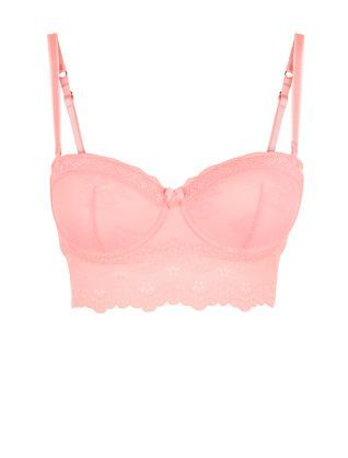 Coral Lace Longline Strapless Bra | New Look