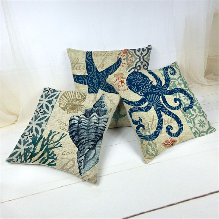 mediterranean style cushion cover blue sea throw pillow case decorative coral almofada beach decor shell cojines #>=#>=#>=#>=#> Click on the pin to check out discount price, color, size, shipping, etc. Save and like it!