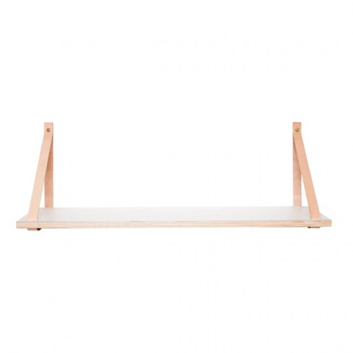 Hubsch wit houten wandplank met lederen band